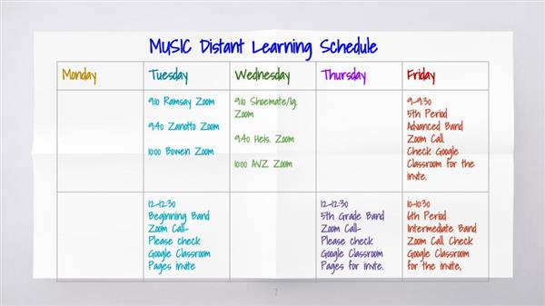 Music Distant Learning Schedule